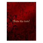 Invitación nupcial gótica de la ducha del damasco  tarjeta postal
