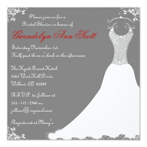 Invitación nupcial gris del vestido de boda de la