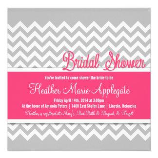 Invitación nupcial gris rosada moderna de la ducha
