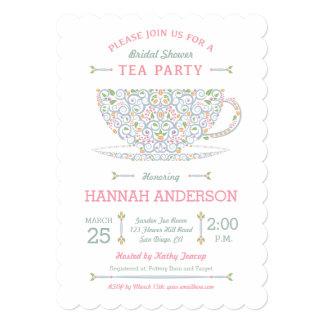 Invitación nupcial II de la fiesta del té de la Invitación 12,7 X 17,8 Cm