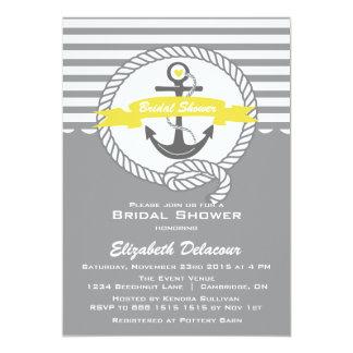 Invitación nupcial náutica amarilla y gris de la