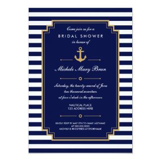 Invitación nupcial náutica azul marino de la ducha invitación 12,7 x 17,8 cm