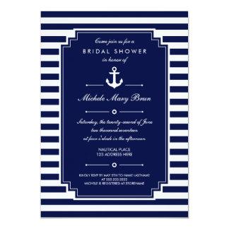 Invitación nupcial náutica blanca azul quebradiza