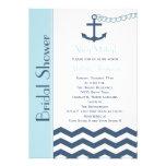 Invitación nupcial náutica de la ducha, azul