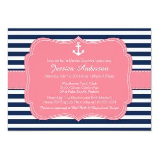 Invitación nupcial náutica de la ducha o de la invitación 12,7 x 17,8 cm