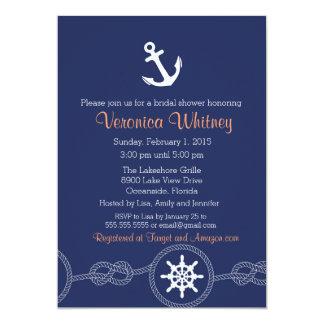 Invitación nupcial náutica de la ducha, playa, invitación 12,7 x 17,8 cm