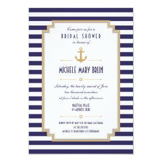 Invitación nupcial náutica elegante de la ducha invitación 12,7 x 17,8 cm