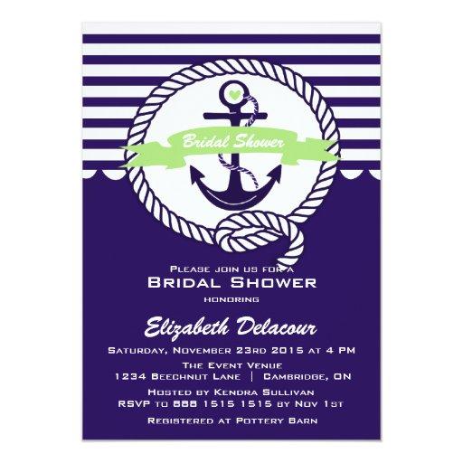 Invitación nupcial náutica púrpura y verde de la invitación 12,7 x 17,8 cm