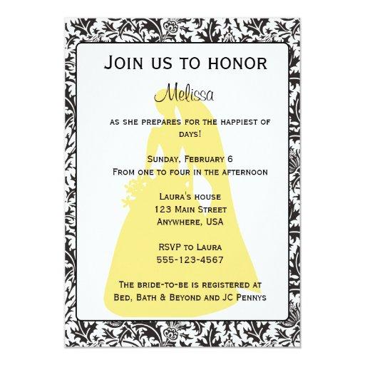 Invitación nupcial negra, blanca y amarilla de la