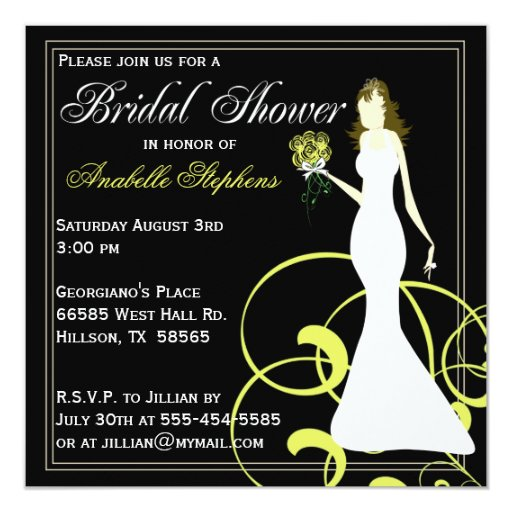 Invitación nupcial negra y amarilla de la ducha invitación 13,3 cm x 13,3cm