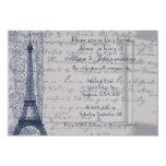 Invitación nupcial parisiense azul de la ducha