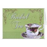 Invitación nupcial pasada de moda del té tarjetón
