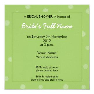 Invitación nupcial pintada de la ducha del verde