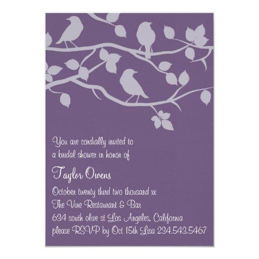 Invitación nupcial púrpura de la ducha de la rama