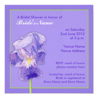 Invitación nupcial púrpura de la ducha del iris invitación 13,3 cm x 13,3cm