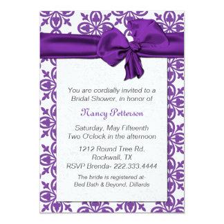 Invitación nupcial púrpura y blanca bonita de la