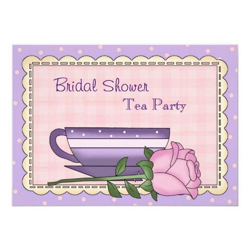 Invitación nupcial púrpura y rosada de la fiesta invitación 12,7 x 17,8 cm