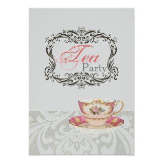 Invitación nupcial real de la fiesta del té de la