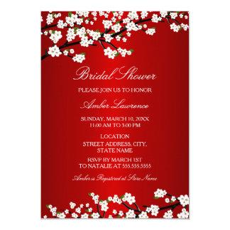 Invitación nupcial roja de la ducha de la flor de