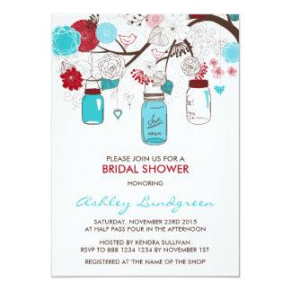 Invitación nupcial roja y azul de la ducha de los