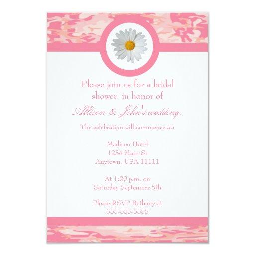 Invitación nupcial rosada de la ducha de Camo