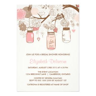 Invitación nupcial rosada de la ducha de los tarro