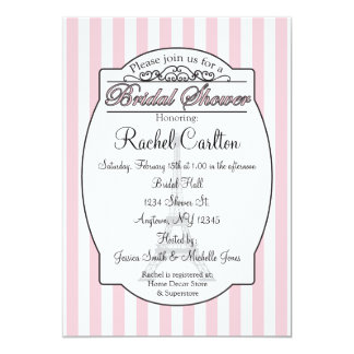 Invitación nupcial rosada de la ducha de París Invitación 12,7 X 17,8 Cm