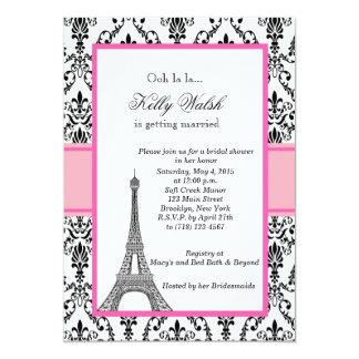 Invitación nupcial rosada de la ducha de París de