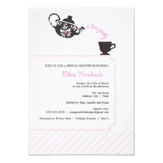 Invitación nupcial rosada de la ducha - té