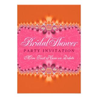 Invitación nupcial rosada romántica femenina del