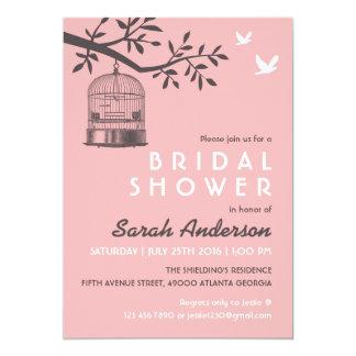 Invitación nupcial rústica de la ducha de la jaula invitación 12,7 x 17,8 cm