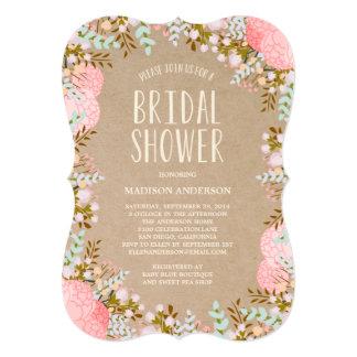 Invitación nupcial rústica de la ducha de las invitación 12,7 x 17,8 cm