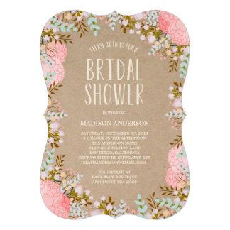 Invitación nupcial rústica de la ducha de las flor