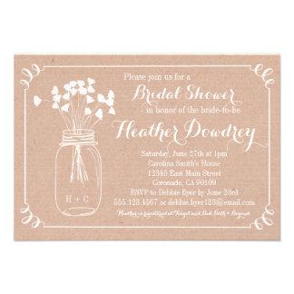 Invitación nupcial rústica de la ducha del boda de