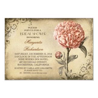 invitación nupcial rústica de la ducha del peony invitación 8,9 x 12,7 cm