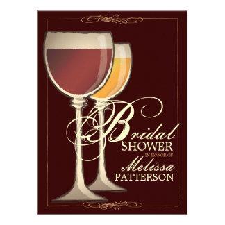 Invitación nupcial temática de la ducha del vino e