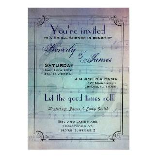 Invitación nupcial temática musical de la ducha invitación 12,7 x 17,8 cm