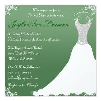 Invitación nupcial verde del vestido de boda de la