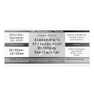 Invitación o boleto negra/blanca del estilo del bo lona publicitaria