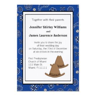 Invitación occidental azul del boda del gorra de
