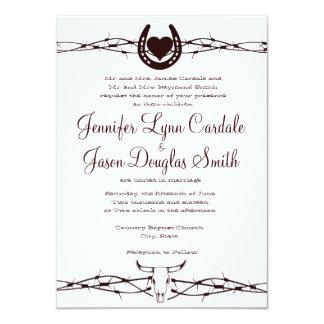 Invitación occidental de herradura del boda del invitación 11,4 x 15,8 cm