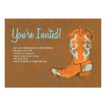 Invitación occidental de la bota de vaquero