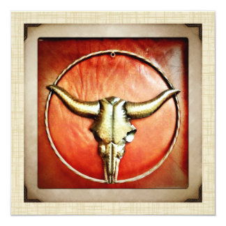 Invitación occidental de los cuernos de Bull del Invitación 13,3 Cm X 13,3cm