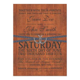 Invitación occidental, de madera y del boda de la invitación 16,5 x 22,2 cm