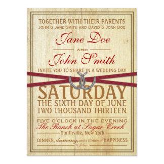 Invitación occidental, de madera y roja del boda invitación 16,5 x 22,2 cm