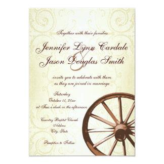 Invitación occidental del boda de la rueda de invitación 12,7 x 17,8 cm