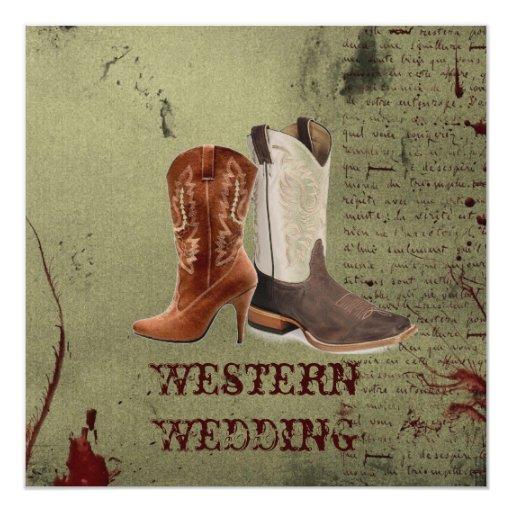 Invitación occidental del boda de las botas de