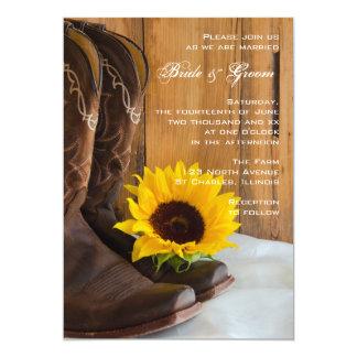 Invitación occidental del boda del girasol del