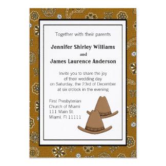 Invitación occidental del boda del gorra de
