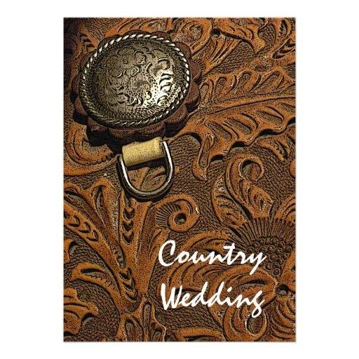 Invitación occidental del boda del país de la sill